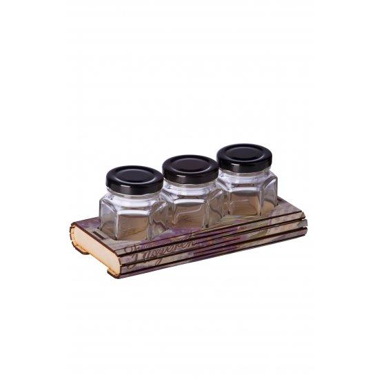 Fa fűszertartó Hexa 3 levendulás ajándéktárgy