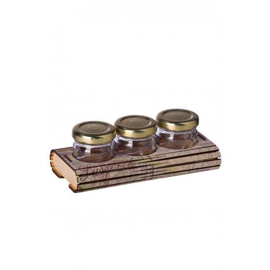 Fa fűszertartó Mono 3 levendulás ajándéktárgy